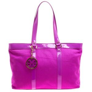 💗Tory Burch Hot Pink Canvas and Patent Jane Larg
